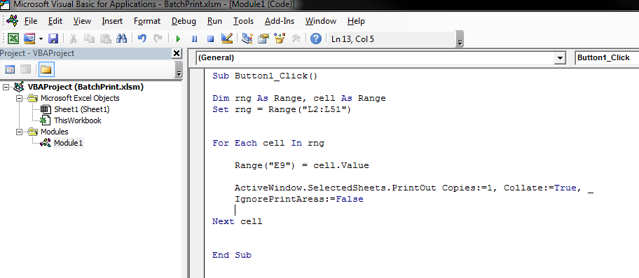 Excel Batch Printing
